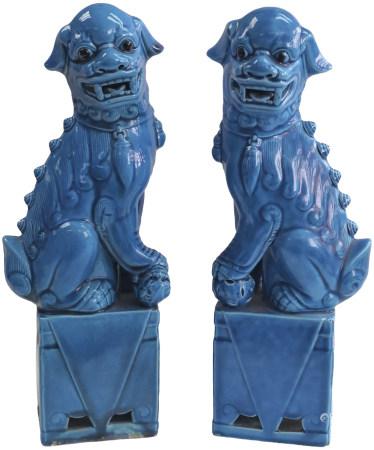 清末民初 霁藍獅子一對