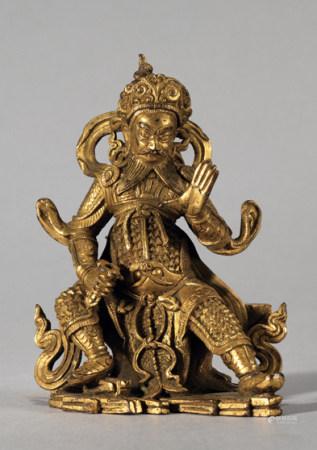 清 銅鎏金天王像