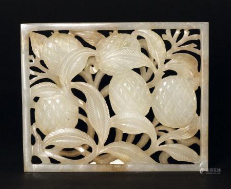 清 白玉花卉紋鏤空雕方牌