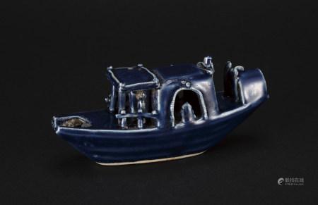 明 藍釉船形水丞