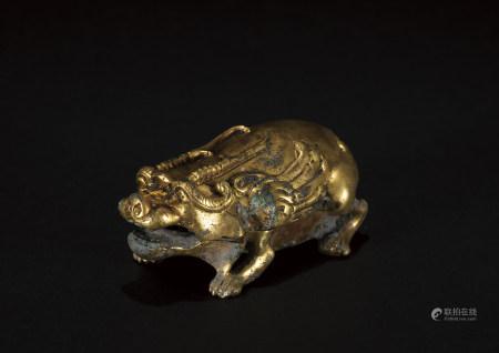 六朝 鎏金獸形銅硯