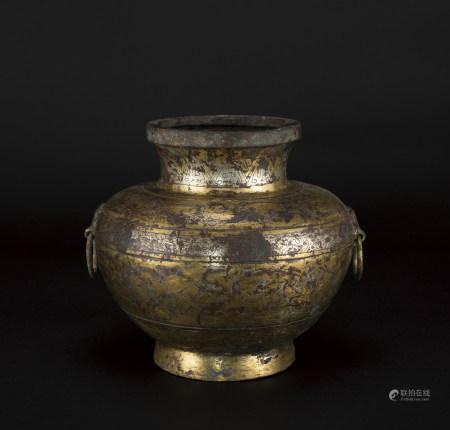漢 銅錯金銀壺