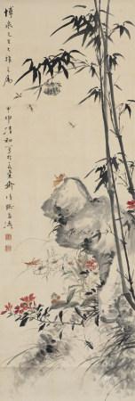 1944年作 王雪濤 花蟲圖