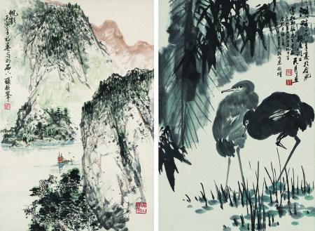張耀峰、陶天月 山水、花鳥二幀