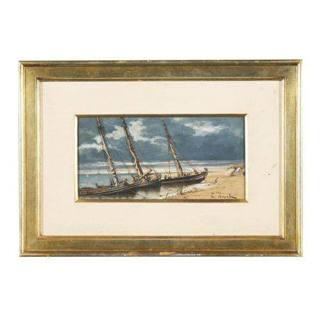 Autor não identificado, Praia com barcos,guache