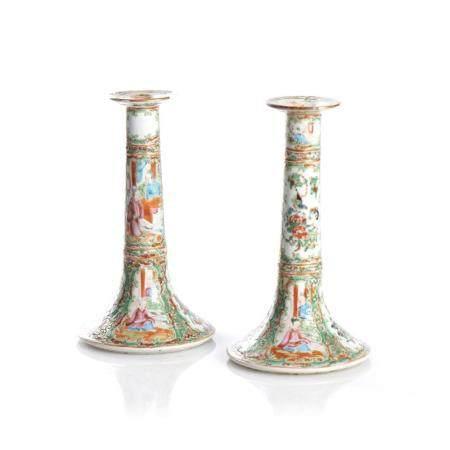 """Par de castiçais porcelana chinesa, """"Mandarim"""" (2)"""