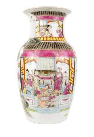 CHINE, 19ème SIECLE Vase balustre