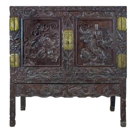 CHINE, 19ème SIECLE Cabinet du Couple Impérial aux dragons