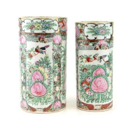 CHINE, CANTON ca.1900 Fausse paire de vases