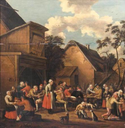 Pieter van Maes (um 1650 - nach 1703). Merrymaking in a Village.