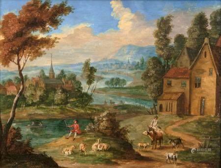 Pieter van Bredael (Antwerpen 1629 - Antwerpen 1719), attr. Extensive River Landscape.