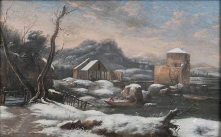 Peter von Bemmel (Nürnberg 1685 - Regensburg 1754), attr. Winter by the River.