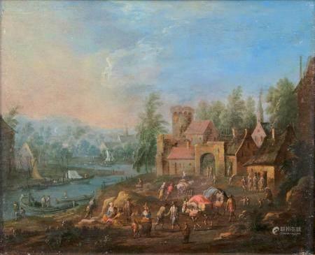 Adriaen Frans Boudewijns (Brüssel 1644 - Brüssel 1711), attr. Business by the River.