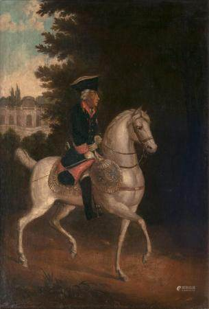 German Master active 2nd half 18th cent. Frederick the Great in front of Sanssouci.