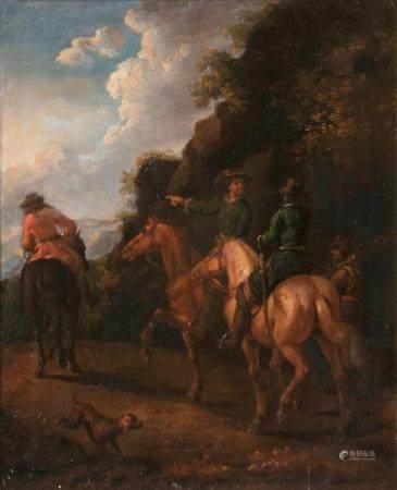 Philips Wouwerman (Haarlem 1619 - Haarlem 1668), in the manner of. Horsemen and Dog.
