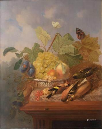 Johannes Marinus Verhoesen (Utrecht 1832 - Utrecht 1898). Still Life with Fruits and Birds.