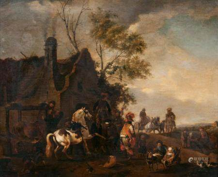 Philips Wouwerman (Haarlem 1619 - Haarlem 1668), in the manner of. At the Blacksmith's.