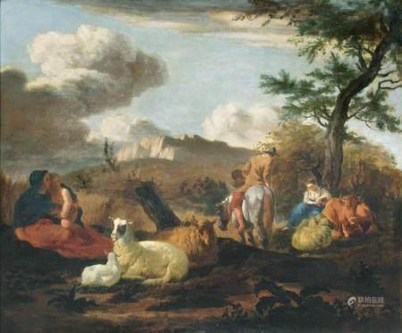 Karel Dujardin (Amsterdam 1626 - Venedig 1678). Landscape with Herdsmen.