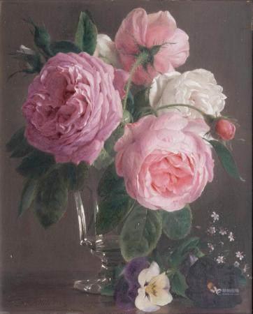 Francois-Antoine de Bruycker (Gent 1816 - Antwerpen 1882). Roses in a Glass.
