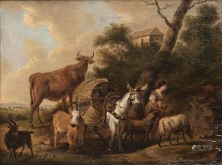 Adriaen van de Velde (Amsterdam 1636 - Amsterdam 1672), circle of. Herdswoman with Animals.