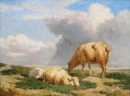 Eugène Verboeckhoven (Warneton 1799 - Brüssel 1881). Three Sheep.
