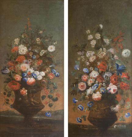 German Master active 2nd half 18th cent. Companion Pieces Bouquets in Vases.
