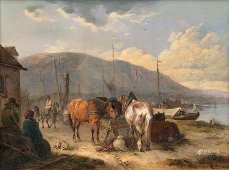 Wilhelm Melchior (Nymphenburg 1817 - München 1860). Horses at the Through.