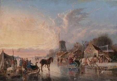 Simon van der Ley (Antwerpen 1790 - 1876). People making merry on a frozen River.