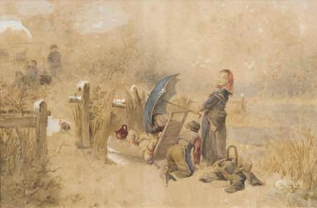 Johan Mari ten Kate (Den Haag 1831 - Driebergen 1910). Snowball Fight.