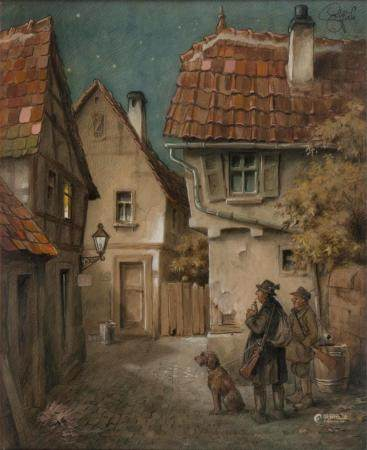 Heinz Geilfus (Gießen 1890 - Bad Nauheim 1956). Departing for the hunt.