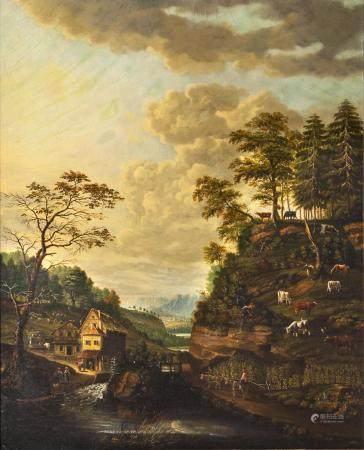 Johann Friedrich Seupel active 2nd half 18th cent. Landscape with Water Mill.
