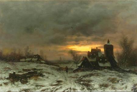 Joseph Heydendahl (Düsseldorf 1844 - Düsseldorf 1906). Winter Evening.