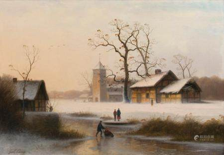 Johann Gustav Lange (Mülheim/R. 1811 - Düsseldorf 1887). Winter Landscape.