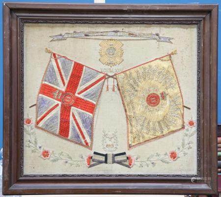 A FINELY EXECUTED POST 1881 TAPESTRY OF THE 2ND BATTALION, THE GORDON HIGHL