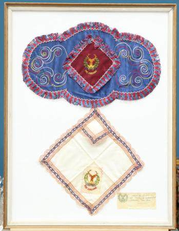 TWO FRAMED EXAMPLES OF PETIT POINT EMBROIDERY INCORPORATING IMAGES OF THE G