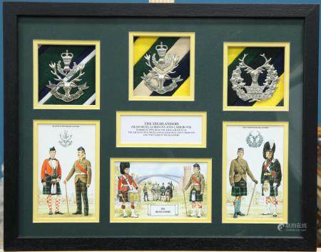 A BOX FRAMED DISPLAY OF GLENGARRY BADGES AND IMAGES OF THE HIGHLANDERS AND