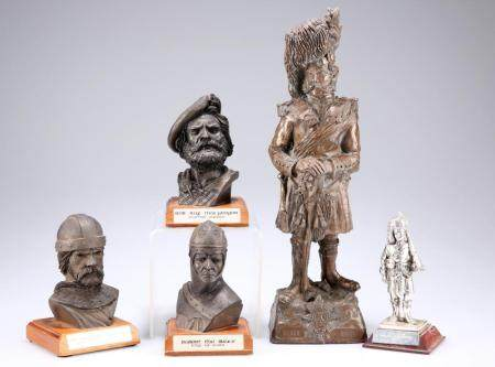 A COLD CAST BRONZE FIGURE OF AN OFFICER OF THE BLACK WATCH,29.5cm;a pewte