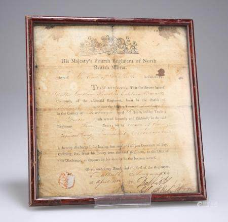A SCARCE, FRAMED AND GLAZED DISBANDMENT DISCHARGE CERTIFICATE FROM HIS MAJE