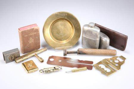 A QUANTITY OF PERSONAL KIT ITEMS, including a pewter spirit flask (Jas. Wil