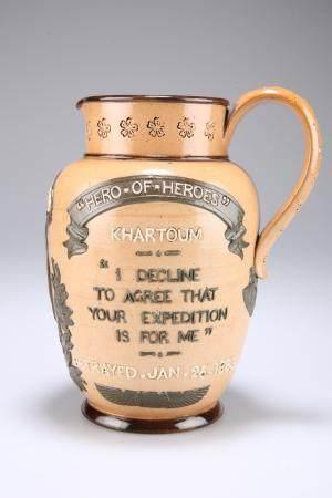 A DOULTON LAMBETH STONEWARE COMMEMORATIVE JUG OF GENERAL GORDON OF KHARTOUM