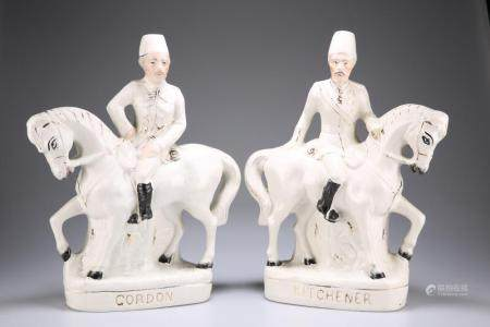 TWO STAFFORDSHIRE FLAT-BACK POTTERY FIGURES OF GENERAL GORDON AND LORD KITC