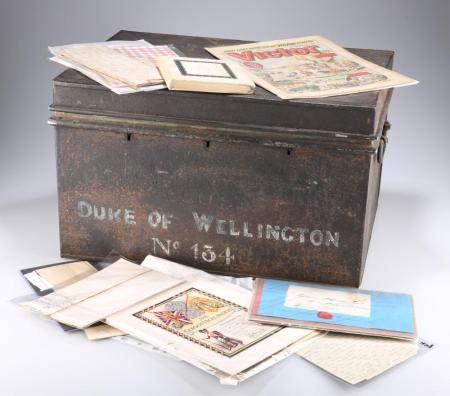 A BLACK JAPANNED DEED BOX CONTAINING EPHEMERA,being mainly, but not exclus