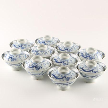 龙纹盖茶碗10客