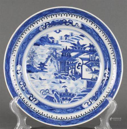A Chinese Export blue and white Fitzhugh plate