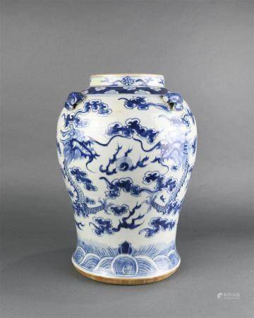 A Chinese blue and white dragon jar