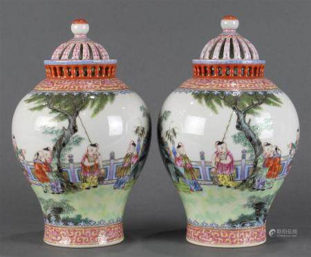A pair Chinese Export Famille Rose potpourri jars