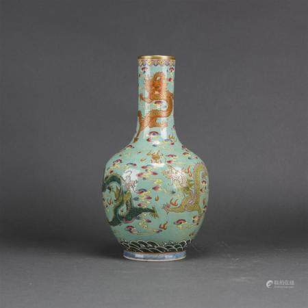 A Chinese Famille Rose turquoise-ground 'dragon' vase