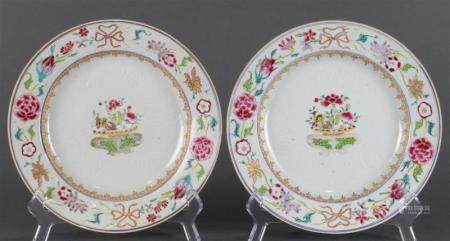A (Lot of 2) Chinese Export Famille Rose plates