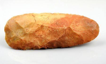 Grande hache taillée à taille régulière Silex brun rouge 16.5 cm Préhistoire Néolithique