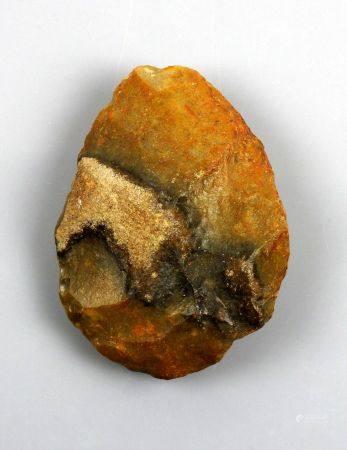 Biface ovoide en silex brun veiné 9.5 cm Préhistoire Paléolithique